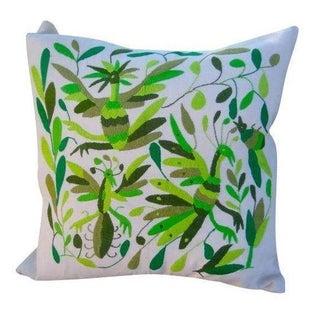 Hand-Woven Green Forest Pillow