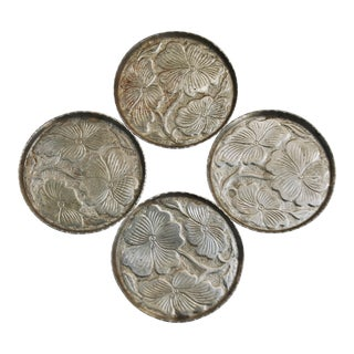 Mid-Century Floral Aluminum Coasters - Set of 4