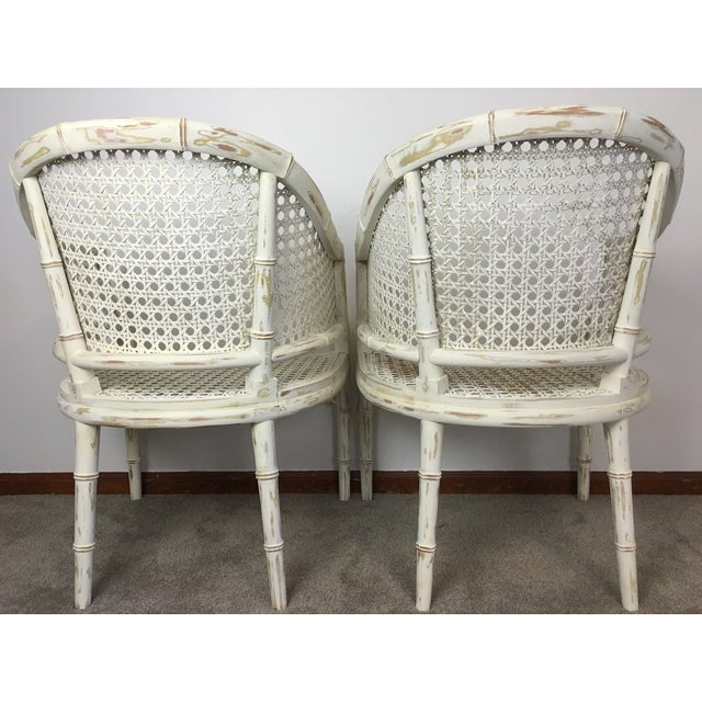 Vintage Faux Bamboo Rattan Chairs - A Pair - Image 4 of 8
