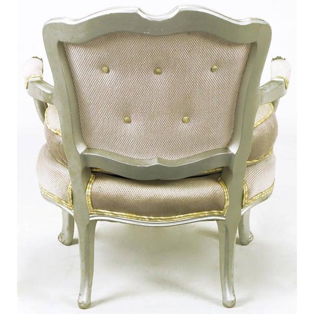 Pair of Silver Lacquer Button Tufted Velvet Louis XV Fauteuils - Image 3 of 7