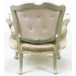 Image of Pair of Silver Lacquer Button Tufted Velvet Louis XV Fauteuils