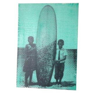 Kids with Board in Mint Green by Andrew Wellman