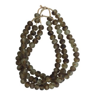 Tortoise Glass African Trade Bead Strands - Set of 3
