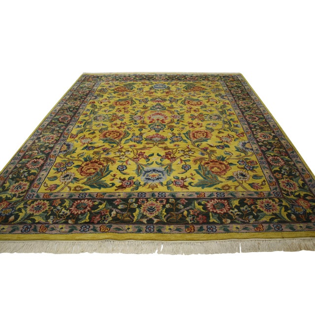 """Vintage Traditional Style Yellow Area Rug - 7'10"""" x 9'9"""" - Image 3 of 5"""