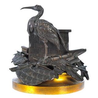 19th C. Bronze Centerpiece with Stork on Chimney