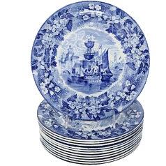 Antique Wedgwood Ferrara Dinner Plates - Set of 12