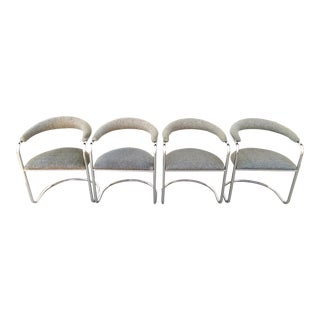 Anton Lorenz for Thonet Model SS33 Chrome & Tweed Chairs - S/4