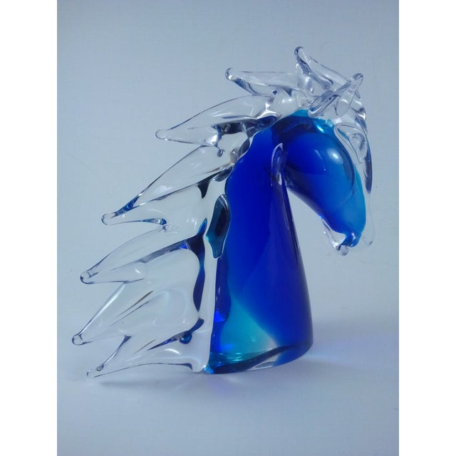 Murano Glass Horse Head Cobalt Italian - Image 3 of 7