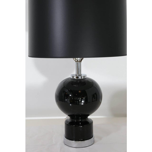 Pair of Modern Black Ceramic and Chrome Table Lamps - Image 5 of 9
