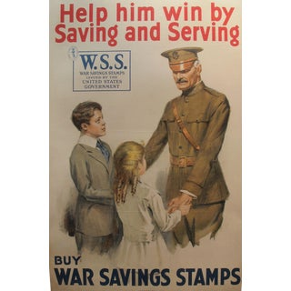 Original WWI American Poster, Saving Stamps