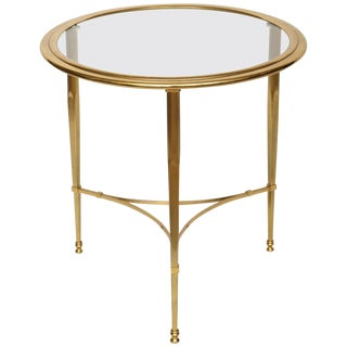 Round French Brass Glass Top Side Table