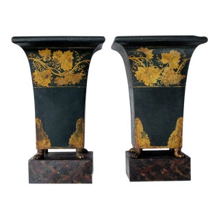 A Good-Scaled Pair of French Empire Style Dark Green Painted Tole Urns with Gilt Decoration