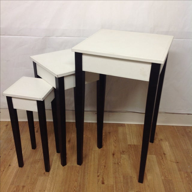Leather Nesting Tables ~ Lacquer leather nesting tables set of chairish