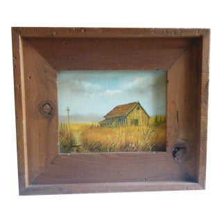 Framed Rustic Barn and Golden Fields Oil Painting, Everett Woodson