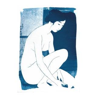 Japanese Ukiyo-E Woman Bathing Cyanotype Print