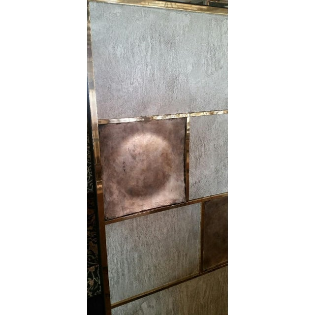 Art Wall Panel With Brass, Distressed Silver Leaf and Textured Finish by Paul Marra - Image 7 of 8
