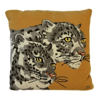 Needlepoint Leopards Pillow