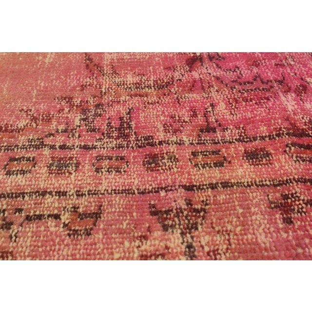"Pink Vintage Turkish Overdyed Rug - 5'1"" X 8'1"" - Image 2 of 2"
