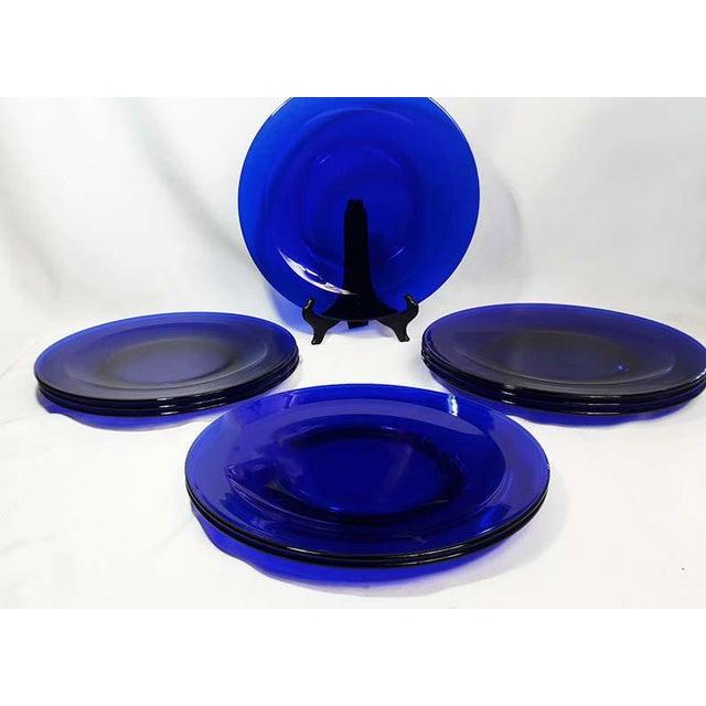 Vintage Cobalt Blue Glass Charger Plates Set Of 9 Chairish