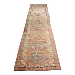 "Colorful Vintage Turkish Oushak Runner - 3'1"" X 12'3"""