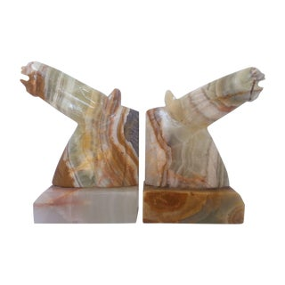 Onyx Horse Head Bookends - A Pair