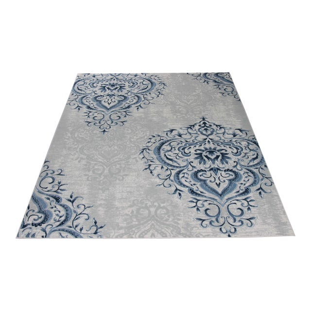 Blue Ivory Damask Rug - 5' x 8' - Image 1 of 5