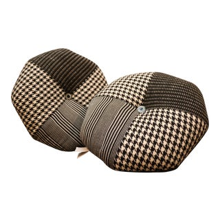 Crate & Barrel Black & White Tweed Pillows - A Pair