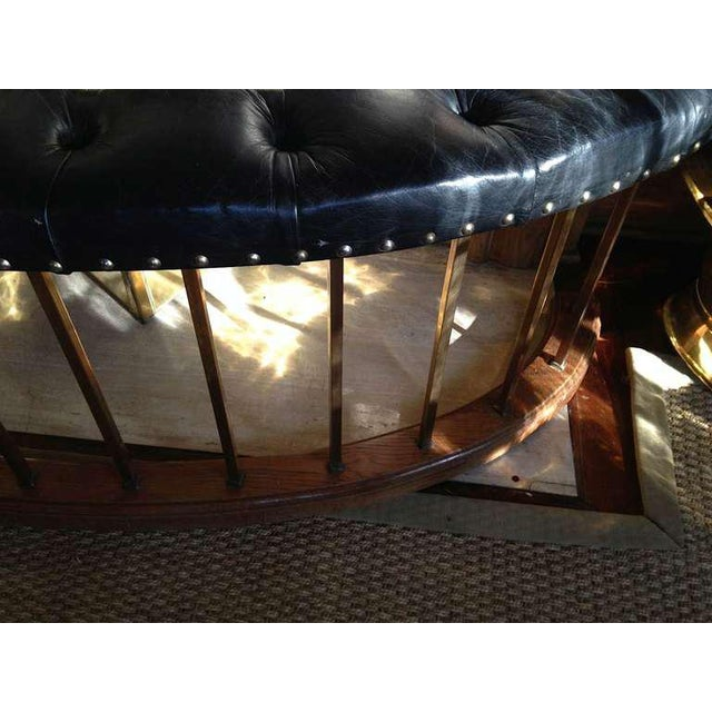 Bow-Shape French Fireside Club Fender with Black Leather Tufted Seat - Image 7 of 9