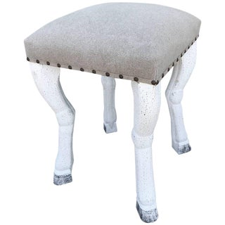 Beige Upholstered Stool with Zoomorphic Legs after John Dickinson