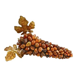 Oversize Hand-Carved Red Agate Grape Cluster