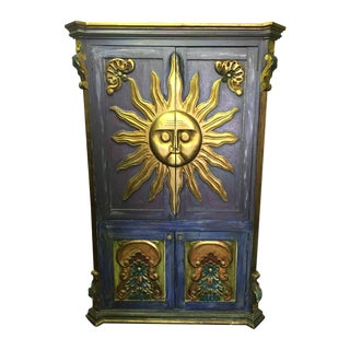 Hand Crafted Vintage Mexican Sun Armoire