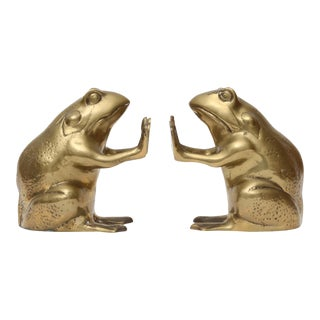Vintage Brass Frog Bookends - A Pair