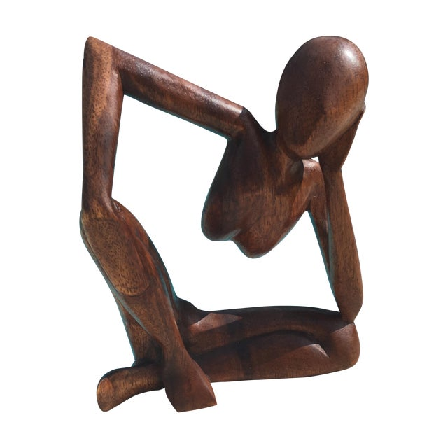 Mid-Century Modern Wooden Sculpture - Image 1 of 7
