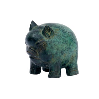 """Grumpy"" Bronze Pig Figurine"