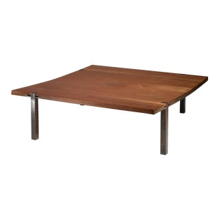 Square (1,5 m / 58 inch) solid wood and metal coffee table, Denmark, 1960s
