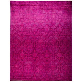 """Pink Over Dyed Hand Knotted Rug- 8' 10"""" x 11' 7"""""""