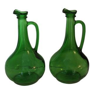 Vintage Green Wine Jugs - A Pair