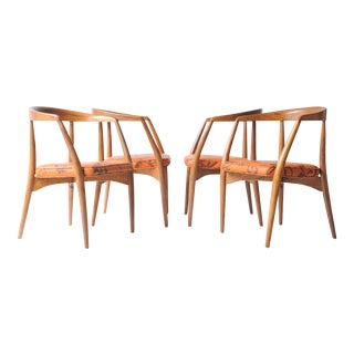 Lawrence Peabody Walnut Chairs - Set of 4