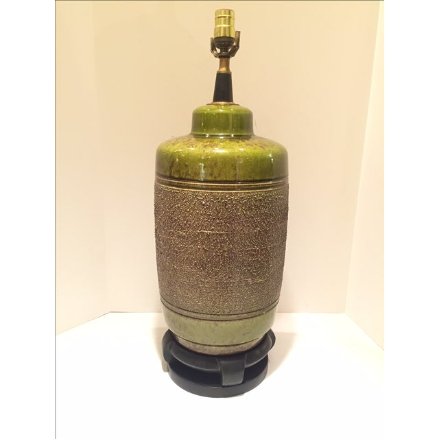 Vintage Green Glazed Lamp - Image 2 of 6