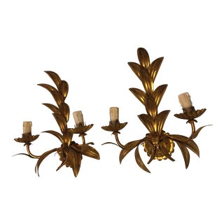 Gilded Metal Shabby Chic Leaf Sconces - A Pair