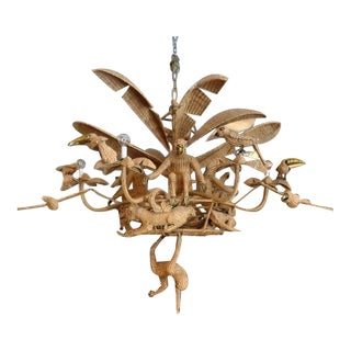 Mario Lopez Torres Woven Rattan Palm Tree Chandelier