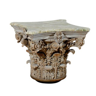 Corinthian Capital Side Table with Marbleized Wood Top