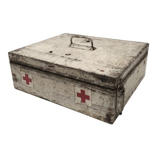 Vintage French Painted Wood First Aid Box