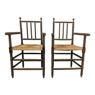 Pair of Antique French Oak Spool Chairs