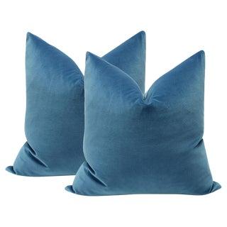 """22"""" Cadet Blue Velvet Pillows - A Pair"""