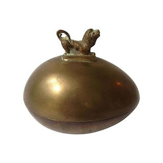 Brass Lidded Box with Lion Finial