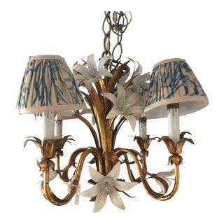 Vintage Gilded Tole 4 Light Chandelier
