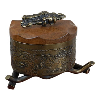 Contemporary Bronze and Wood Lidded Box