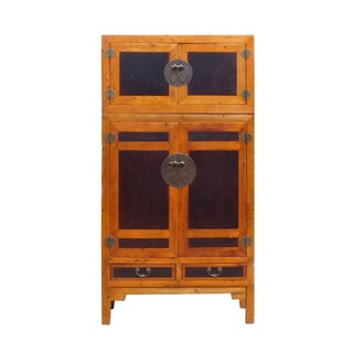 Chinese Tall Elm Wood Compound Armorie Wardrobe