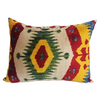 Red & Yellow Silk Velvet Ikat Pillow